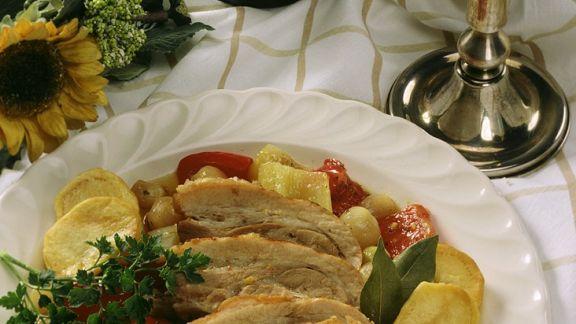 Rezept: Schweinefleisch auf Paprikagemüse