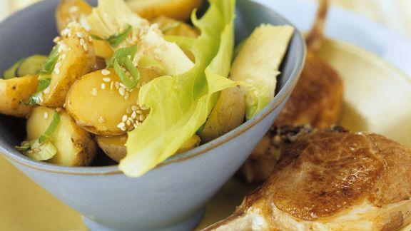 Rezept: Schweinekotelett mit jungen Kartoffeln
