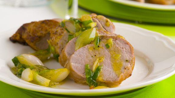 Rezept: Schweinelende mit Zwiebelsoße