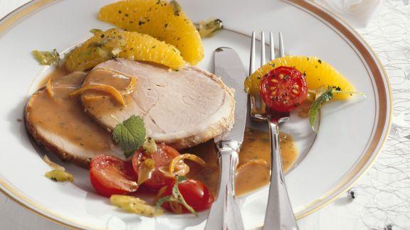 Rezept: Schweinerollbraten mit Orangen-Soße und Polenta