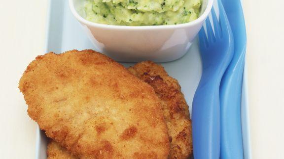 Rezept: Schweineschnitzel und Kartoffelpüree mit Brokkoli