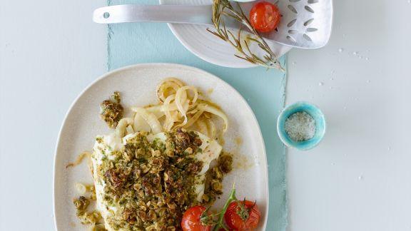 Rezept: Seelachs mit Pesto-Haube