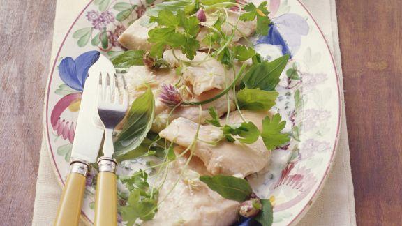 Rezept: Seesaibling (Rötel) mit Kräuter-Weißwein-Soße