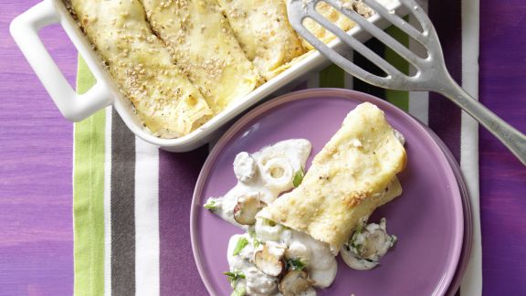 Rezept: Sesampfannkuchen mit Pilzen
