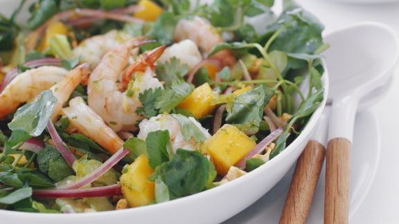Rezept: Shrimps-Mango-Salat mit Koriander