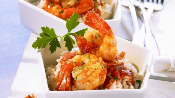 Rezept: Shrimps mit Cognac-Tomaten-Soße und Reis