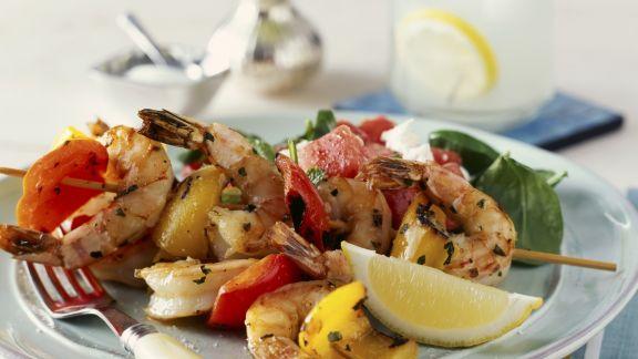 Rezept: Shrimps-Paprika-Spieß vom Grill