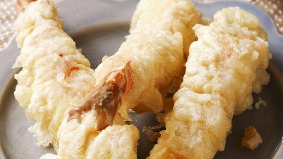 Rezept: Shrimps-Tempura mit Reis und Sojadip