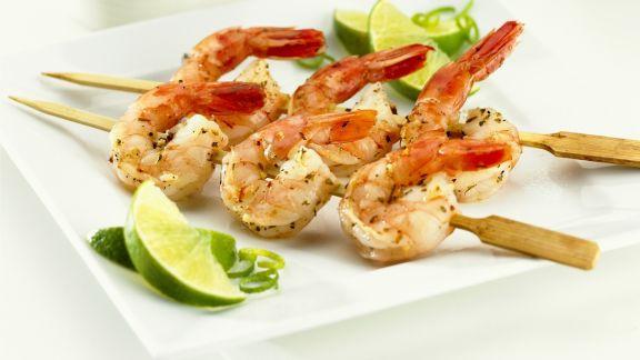 Rezept: Shrimpsspieße mit Limette
