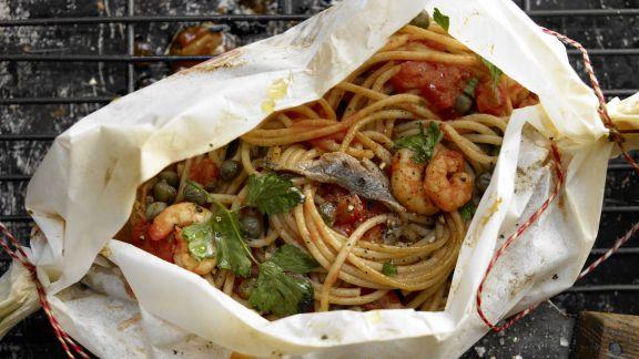 Rezept: Spaghetti-Garnelen-Päckchen