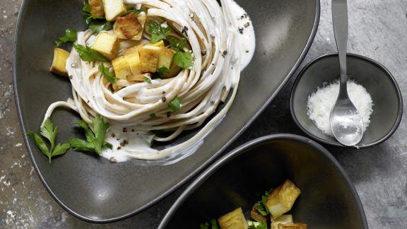 Rezept: Spaghetti mit Kräuter-Sojacreme