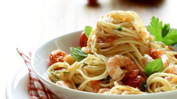 Rezept: Spaghetti mit Garnelen