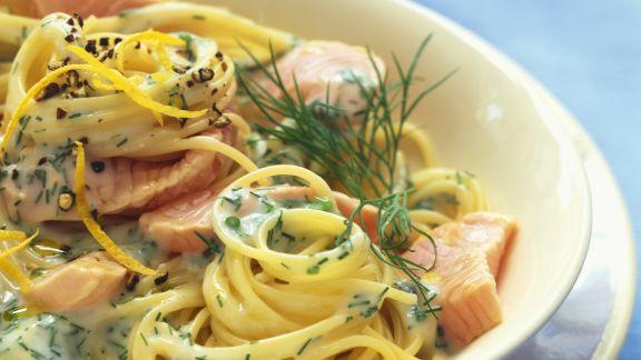 Rezept: Spaghetti mit Lachs-Dill-Soße