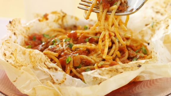 Rezept: Spaghetti mit Tomatensoße aus dem Ofen