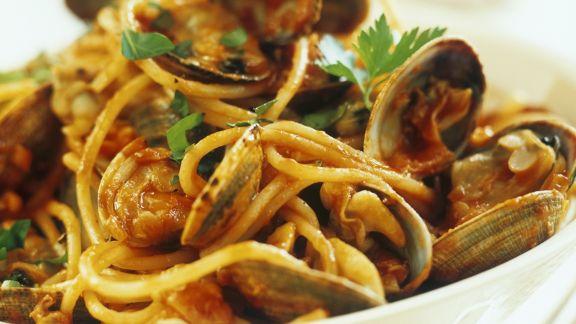 Rezept: Spaghetti mit Venusmuscheln