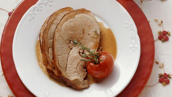 Rezept: Spanferkelbraten und Kartoffelsalat mit Zucchini