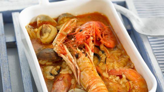 Rezept: Spanische Reissuppe mit Scampi