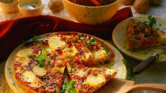 Rezept: Spanische Tortilla mit Kartoffeln, Tomaten und Paprika