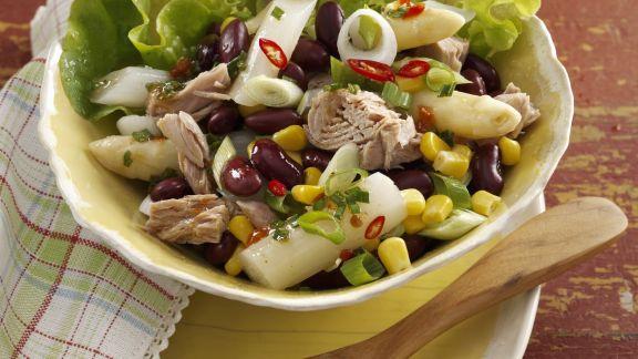 Rezept: Spargel-Thunfisch-Salat mit Mais und Bohnen