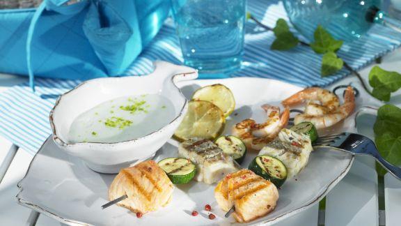 Rezept: Spieße mit Meeresfrüchten vom Grill