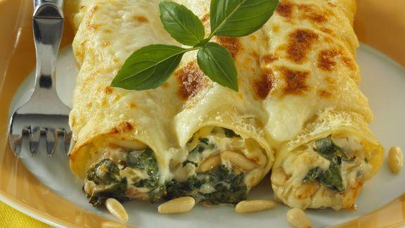 Rezept: Spinat-Cannelloni mit Pinienkernen
