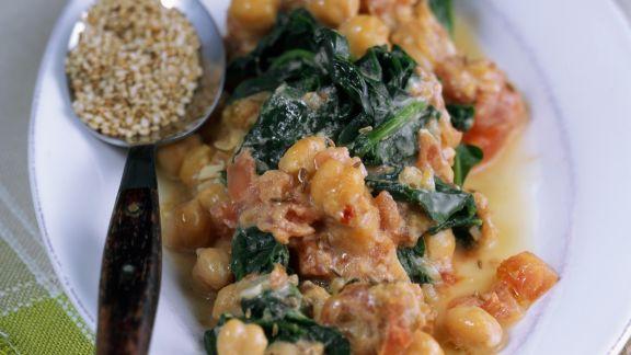 Rezept: Spinat mit Kichererbsen und Sesam