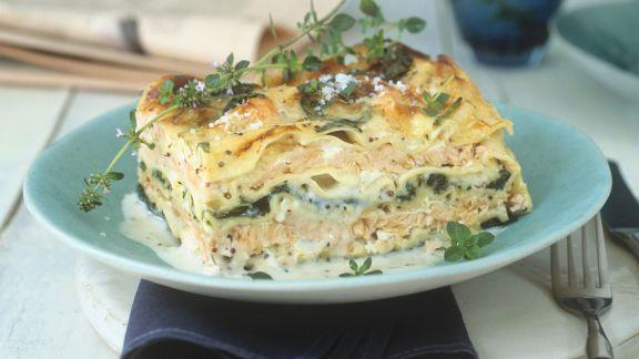 Rezept: Spinatlasagne mit Lachs und Parmesan