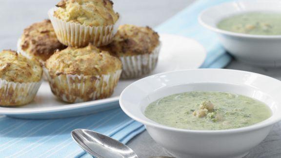 Rezept: Spinatsuppe mit Muffins