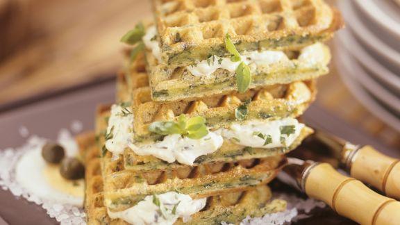 Rezept: Spinatwaffeln mit Frischkäsefüllung