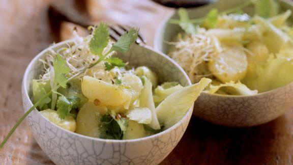 Rezept: Sprossen-Kartoffelsalat mit frischem Koriander