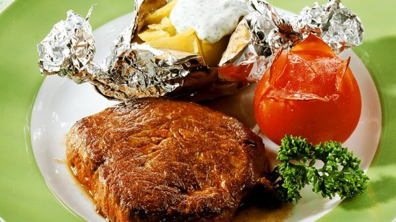 Rezept: Steak mit Folienkartoffel