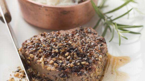 Rezept: Steak mit Pfeffer dazu Kartoffelbrei
