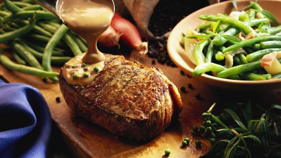 Rezept: Steak mit Pfeffersoße