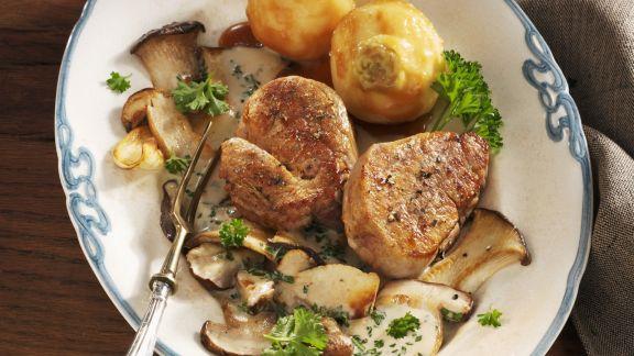 Rezept: Steak vom Kalb mit Steinpilzen und Karamellisierten-Rüben