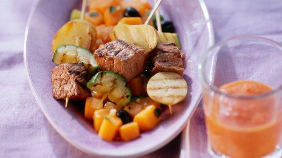 Rezept: Straußenfilet mit Zucchini-Kürbisgemüse