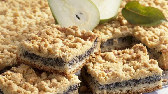 Rezept: Streuselkuchen mit Birnen und Mohn
