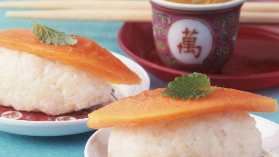 Rezept: Süßes Sushi aus Milchreis, dazu kandierter Ingwer