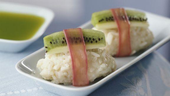 Rezept: Süßes Sushi mit Kiwi und Rhabarber