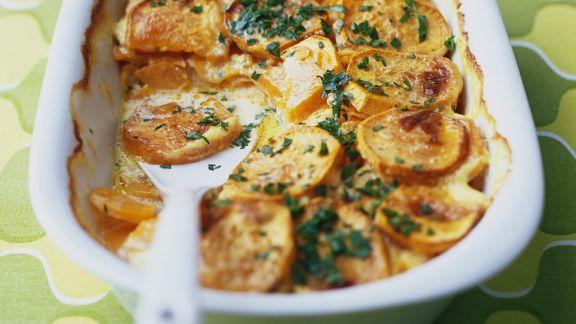 Rezept: Süßkartoffelgratin