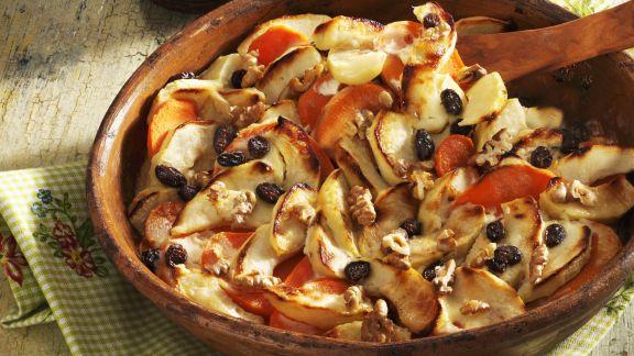 Rezept: Süßkartoffelgratin mit Äpfeln und Sultaninen