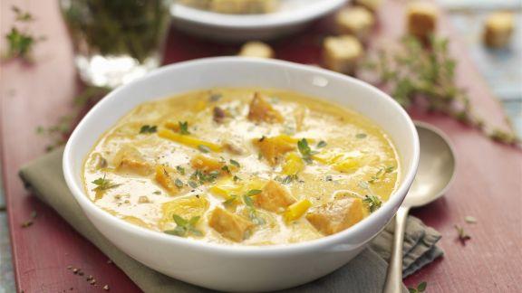 Rezept: Suppe mit Mais und Butternut-Kürbis