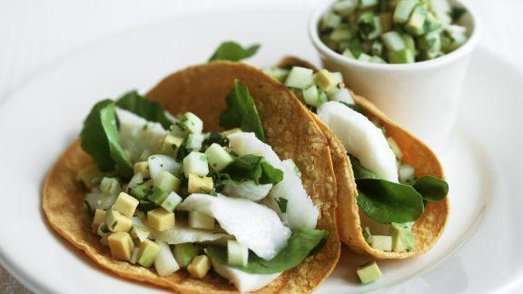 Rezept: Tacos mit Avocado und mariniertem Steinbutt nach chilenischer Art