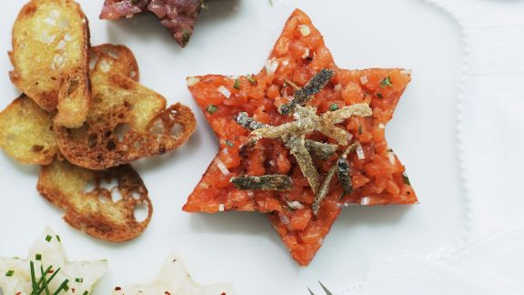 Rezept: Tatar vom Fisch mit Lachs, Thunfisch und Heilbutt