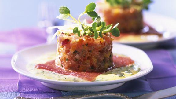 Rezept: Tatar vom Tintenfisch mit Kräutersoße
