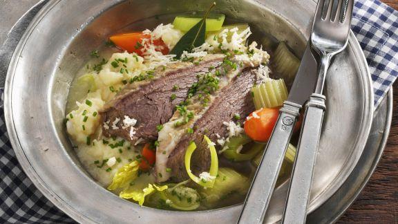 Rezept: Tellerfleisch mit Meerrettich, Gemüse und Kartoffelpüree