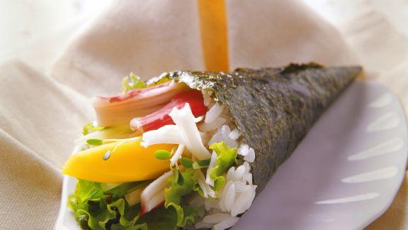 Rezept: Temaki mit Mango und Surimi
