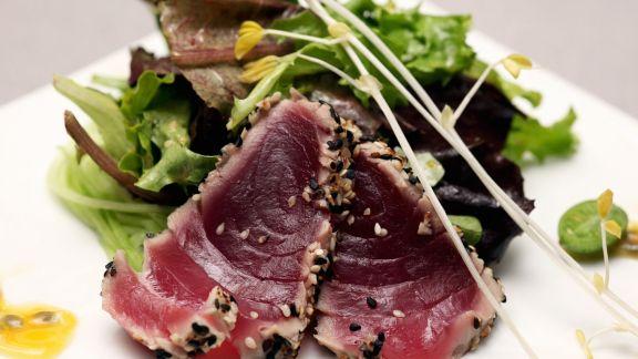 Rezept: Thunfisch mit grünem Salat