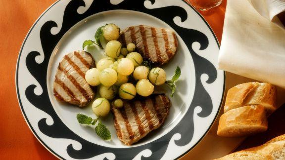 Rezept: Thunfisch vom Grill mit Melone
