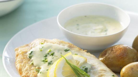 Rezept: Tilapia mit Senf-Estragon-Soße und Pellkartoffeln