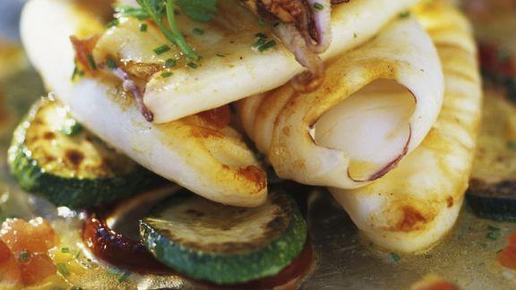 Rezept: Tintenfisch mit Ratatouille-Gemüse